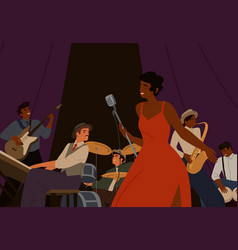 Diverse jazz band with black skin cartoon female vector