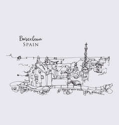 drawing sketch park guell in barcelona vector image