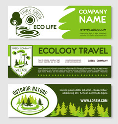 eco tourism and green travel banner template set vector image