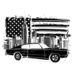 Emblem muscle car silhouette on flag vector