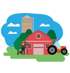 farm Farmer and tractor vector image