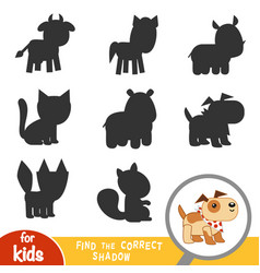 find correct shadow game for children dog vector image