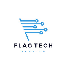 Flag tech technology electric circuit logo icon vector