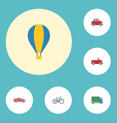 Flat icons luxury auto lorry airship and other vector