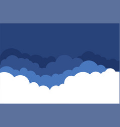 flat style clouds in blue shades background vector image