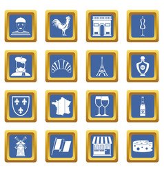 France travel icons set blue vector