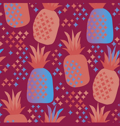 Fun vivid pineapple seamless pattern vector