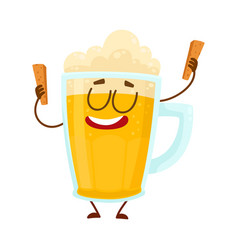 Funny beer mug character with smiling human face vector