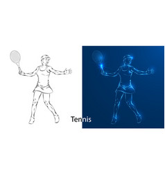 game of tennis player line drawing vector image