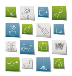 Garden and gardening tools and objects icons vector