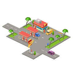 Gas station isometric 3d of vector