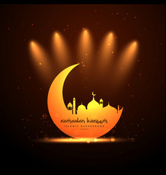 Glowing mosque and moon background vector