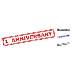 grunge 1 anniversary scratched rectangle vector image