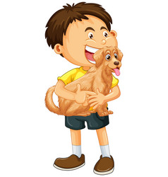 Happy boy cartoon character hugging a cute dog vector