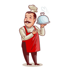 Happy chef cook with tray cloche in hand vector