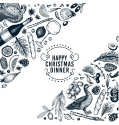 happy christmas dinner design template vector image