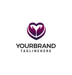 heart arrow logo design concept template vector image