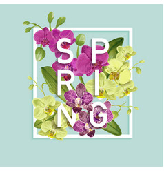 Hello spring tropic design tropical orchid flowers vector