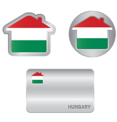 home icon on hungarian flag vector image