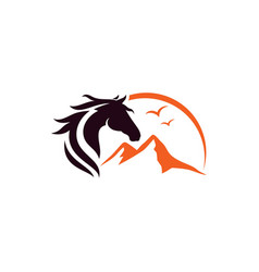 Horse and mountain logo design template vector
