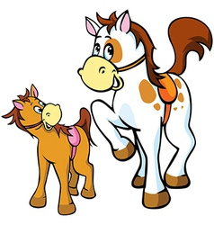 Horses cartoon vector