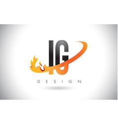 Ig i q letter logo with fire flames design vector