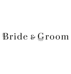 inscription bride and groom with pattern on white vector image