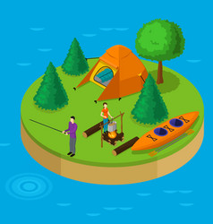 isometric water active recreation concept vector image