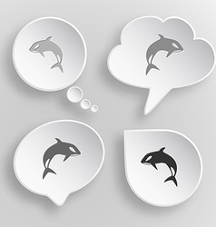 Killer whale White flat buttons on gray background vector image