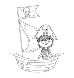 little pirate in boat fairytale character vector image