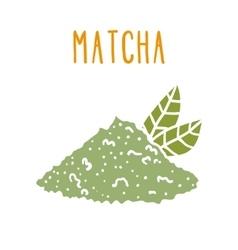 Matcha tea powder vector