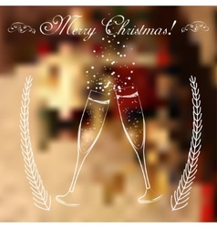 Merry christmas glasses of champagne on a vector image