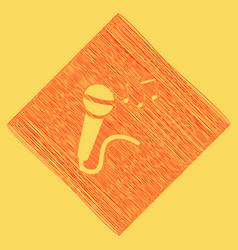 microphone sign with music notes red vector image