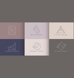 Minimal logo designs set six concept vector