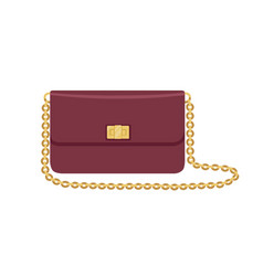 Modern flap clutch with gold chain strap and twist vector