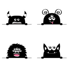 Monster scary face head icon set hands paw vector