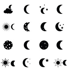 moon icon set vector image