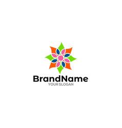 Multicolors mandala logo design vector