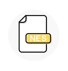 Nes file format extension color line icon vector