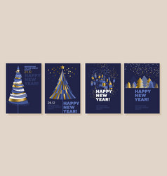 new year and abstract christmas tree posters vector image