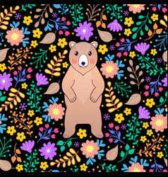 pattern with bear and flowers vector image