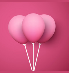 pink background with realistic 3d balloons vector image