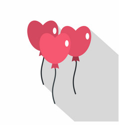 Pink balloons in shape of heart icon flat style vector