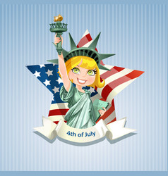 poster with beautiful statue liberty on usa flag vector image