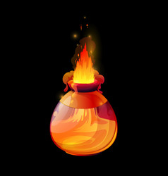 Potion bottle with fire flames game interface vector