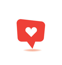 red social media bubble shape with like heart vector image