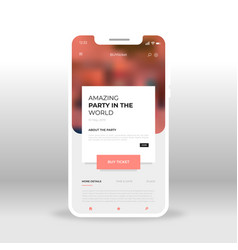 red ticket seller ui ux gui screen for mobile vector image