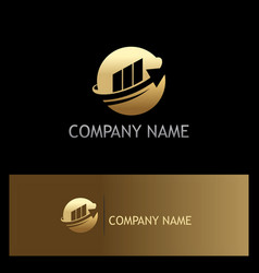 Round sphere arrow business finance gold logo vector