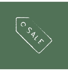 Sale tag icon drawn in chalk vector