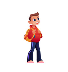 Schoolboy with backpack isolated cartoon pupil vector